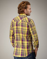 DIESEL - Yellow Check Flannel Western Shirt for Men - Lyst