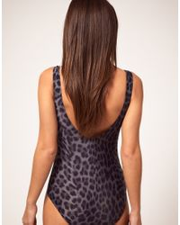Emma Cook | Black One Piece Swim Suit With Leopard Placement Print | Lyst