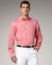Ermenegildo Zegna | Pink Linen Sport Shirt, Coral for Men | Lyst