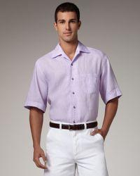 Ermenegildo Zegna | Purple Short-sleeve Linen Shirt, Lavender for Men | Lyst