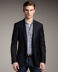 Etro | Black Grosgrain-trim Herringbone Blazer for Men | Lyst