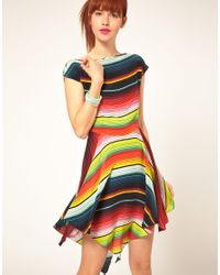 House of Holland | Multicolor Stripe Poncho Dress In Silk | Lyst