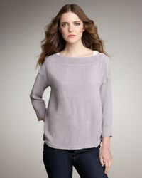 James Perse - Gray Crepe Boat-neck Top - Lyst