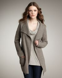 James Perse | Brown English Ribbed Wool-blend Cardigan | Lyst