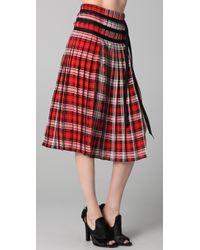JOSEPH | Red Pleated Silk Skirt | Lyst