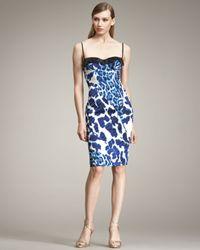 Just Cavalli | Blue Leopard-print Bustier Dress | Lyst