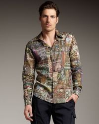 Just Cavalli | Multicolor Patchwork Woven Shirt for Men | Lyst