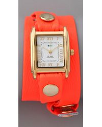 La Mer Collections Red Neon Simple Wrap Watch