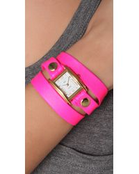 La Mer Collections Pink Neon Simple Wrap Watch