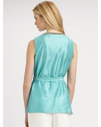Lafayette 148 New York - Blue Beaded-neckline Top - Lyst