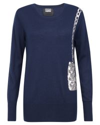 Markus Lupfer | Blue Navy and Silver Sequin Bag Motif Jumper | Lyst