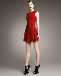 McQ | Red Circle-zip Dress | Lyst