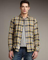 Rag & Bone | Yellow Three Quarter Placket Plaid Shirt for Men | Lyst