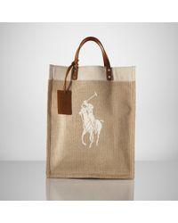 Ralph Lauren Collection Natural Canvas & Linen Big Pony Tote