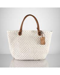 Ralph Lauren Collection White Cotton Crochet Tote