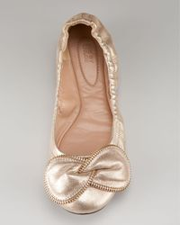 See By Chloé - Metallic Zipper-bow Ballerina Flat - Lyst
