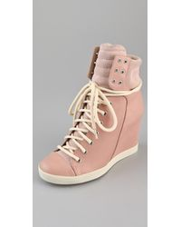 See By Chloé | Pink Lace Up Wedge Sneakers | Lyst