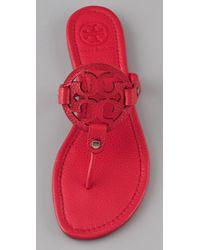 Tory Burch - Red Miller Flat Thong Sandals - Lyst