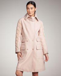 Alexander Wang | Pink Hybrid Car Coat with Detachable Fox Fur Collar | Lyst