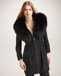 Alice + Olivia | Black Campbell Fox Fur Collar Coat | Lyst