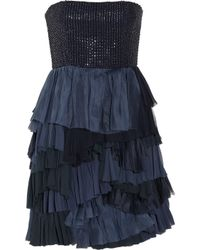 Alice + Olivia Blue Apri Beaded Tiered Silk Dress
