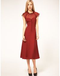 ASOS Collection | Red Asos Midi Dress with Button Front | Lyst
