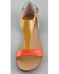 Boutique 9 Orange Piraya Multicolor T Strap Sandals
