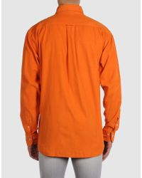 Burberry - Orange Long Sleeve Shirts for Men - Lyst