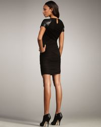 Elizabeth and James | Black Monica Leather-sleeve Dress | Lyst