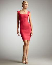 Hervé Léger | Pink Square-neck Bandage Dress | Lyst