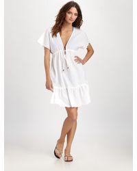 Shoshanna - White Short Sleeve Cotton Coverup - Lyst