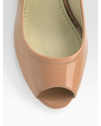 Vera Wang Lavender - Brown Miranda Patent Leather Peep Toe Wedge Pumps - Lyst
