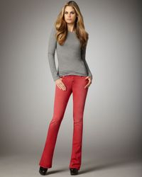 7 For All Mankind | Kaylie Sunbleached Red Slim Boot-cut Jeans | Lyst
