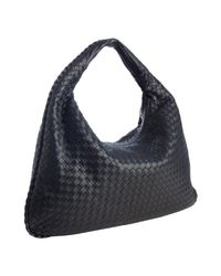 Bottega Veneta | Black Tourmaline Intrecciato Leather Veneta Large Hobo | Lyst