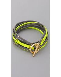 Gorjana - Yellow Graham Leather Triple Strand Wrap - Lyst