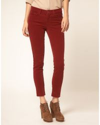J Brand | Red Mid Rise Skinny Ankle Cord Jeans In Black Cherry | Lyst