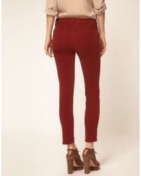 J Brand - Red Mid Rise Skinny Ankle Cord Jeans In Black Cherry - Lyst