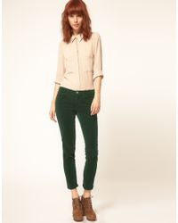 J Brand | Black Mid Rise Skinny Ankle Cord Jeans In Peridot Green | Lyst