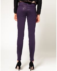 J Brand - Low Rise Coated Legging Jeans In Purple - Lyst