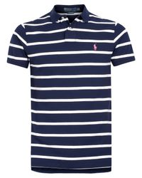 Polo Ralph Lauren | Blue Navy and White Stripe Polo Shirt for Men | Lyst