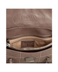 Prada - Brown Clay Antiqued Nappa Leather Chain Strap Shoulder Bag - Lyst