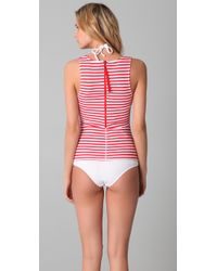 Pret-a-surf - Red Rash Guard Tank with Back Zip - Lyst