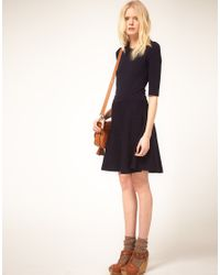 See By Chloé Blue See By Chloe Merino Knitted Fit and Flare Dress with Contrast Turn Back Cuff