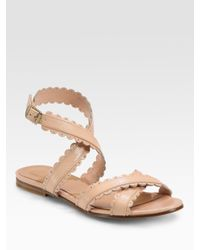 See By Chloé | Multicolor Leather Scallop Edge Flat Sandals | Lyst