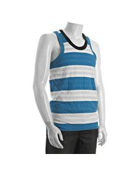 Y-3 | Pool Blue Striped Cotton Stretch Tank for Men | Lyst