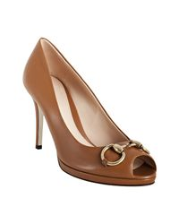 Gucci | Brown Tan Leather New Hollywood Peep Toe Platform Pumps | Lyst