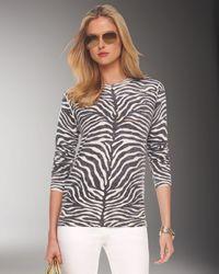 Michael Kors White Cashmere Zebra Print Pullover