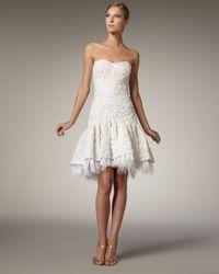 Badgley Mischka | White Strapless Ribbon Lace Dress | Lyst