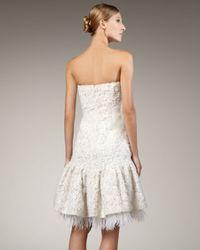 Badgley Mischka   White Strapless Ribbon Lace Dress   Lyst