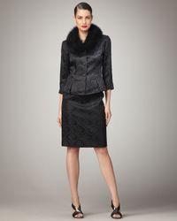 Bigio Collection - Black Fur-collar Jacquard Suit - Lyst
